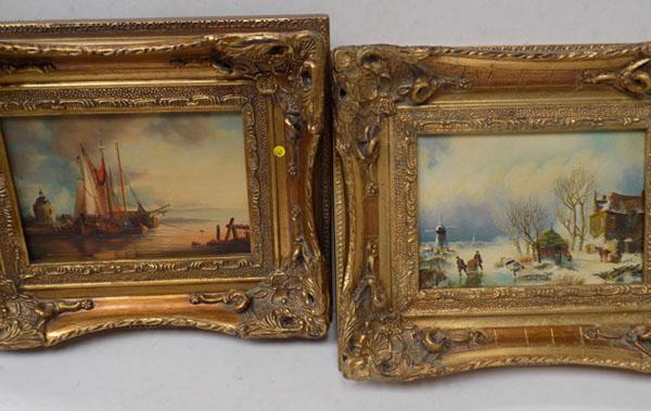 Pair of ornate gilt framed oil on board by TSR + Wilson