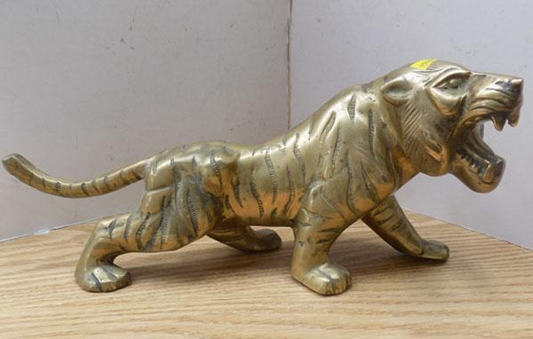 Large brass tiger - figure