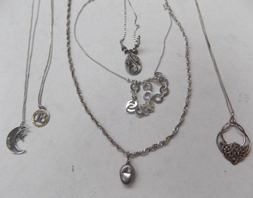 Selection of silver chains-broken clasp & stone missing/pendants/scrap silver