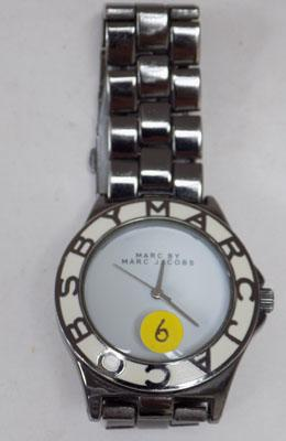 Mens black watch with white face - works but bought as seen