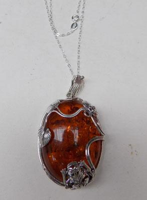 Art nouveau silver + amber pendant on silver chain