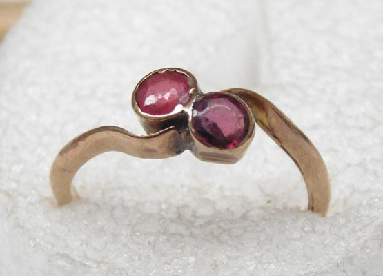 9ct rose gold ruby ring- Chester hallmark