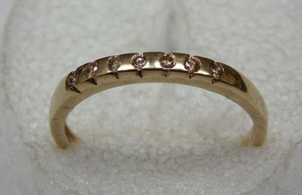 9ct gold 5 diamond set ring