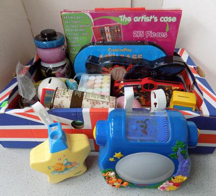 Box of craft items and tins