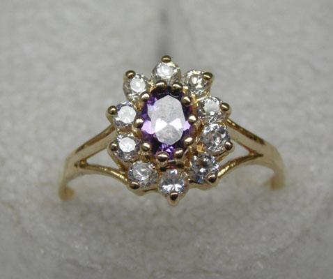 9ct gold amethyst 10 zirconia ring