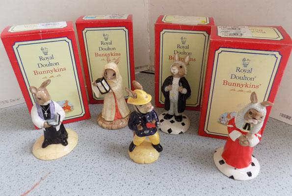 5x Royal Doulton Bunnykins (4 boxed)