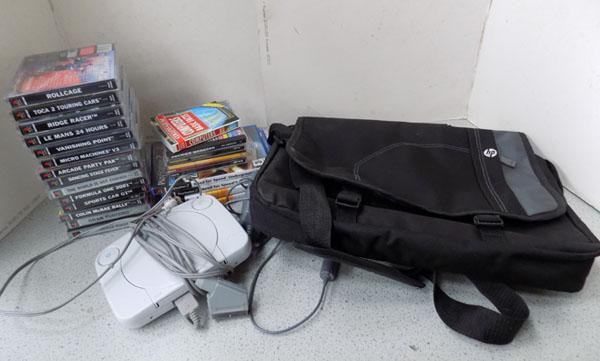 PlayStation + 18 games & various CDs + HP laptop case
