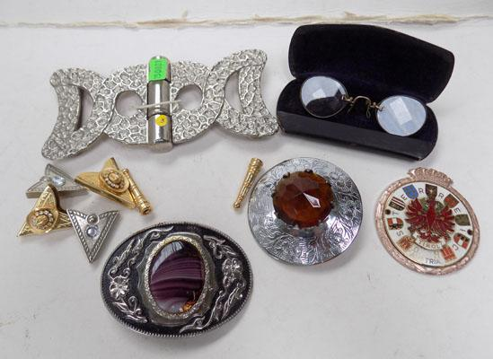 Selection of items  including Scottish belt buckle/pin