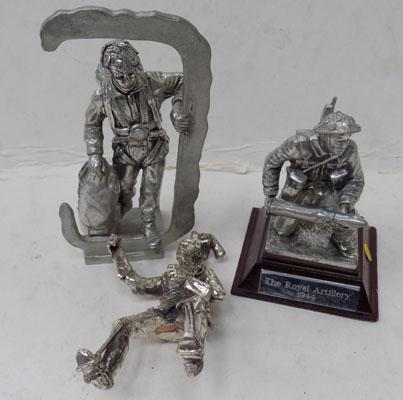 2 pewter + 1 other military figure