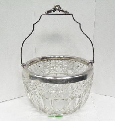 Cut glass and chester silver swing handled bowl 1900