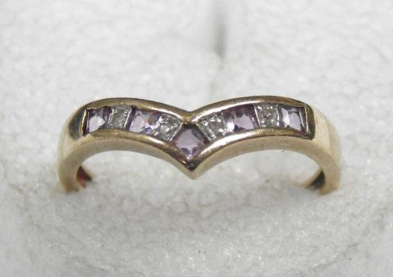 9ct gold 5 amethyst 4 diamond ring