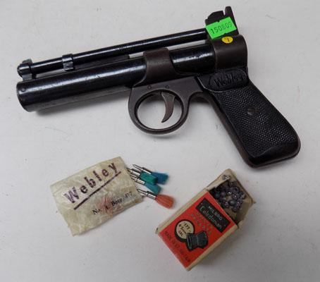 Old Webley 177 air pistol/pellets/darts in office