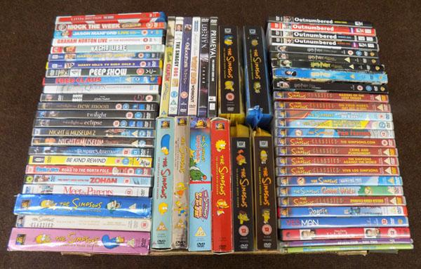 Box of DVDs including box sets