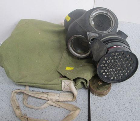 Vintage gas mask with bag
