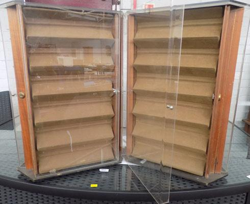 Pair of rotating display cabinets - keys in office