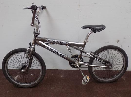 "Rhino Cutz BMX silver 20"" rigid 1 gear bike"