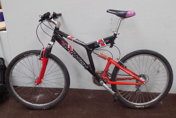 "Saracen Raw black/red 26"" full suspension 24 gears bike"