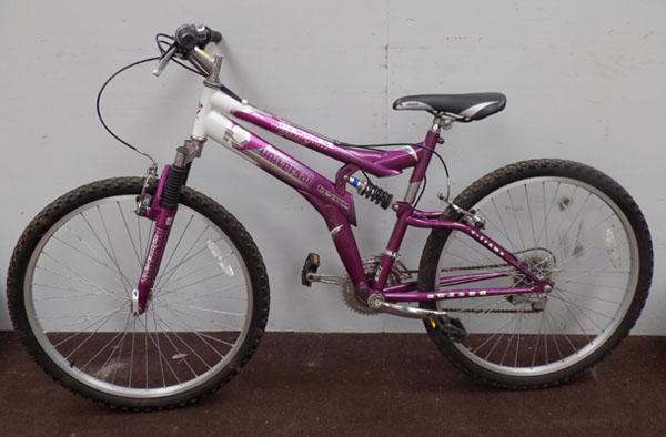 "Univeral comet pink/white 26"" full suspension 15 gears bike"