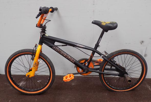 "Muddyfox X-Ray BMX black/orange 20"" rigid 1 gear bike"