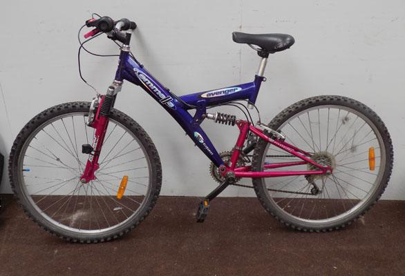 "Emmelle Avenger blue/pink 26"" full suspension 15 gears bike"
