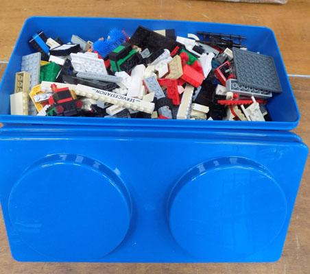 Large box of Lego + tub