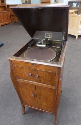 His Masters Voice gramophone in cabinet