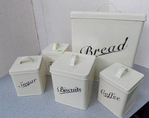 Set of enamel kitchen containers