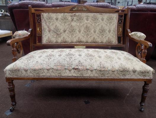 Rosewood inlaid upholstered 2 seater on casters