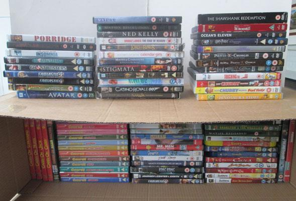 Box of various DVDs including Blue Ray