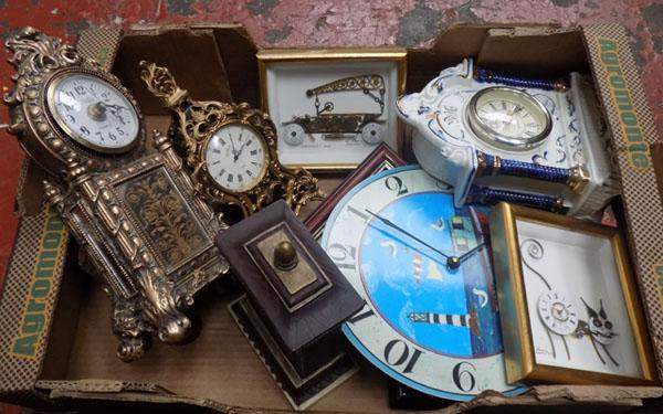 Mixed box of clocks etc.