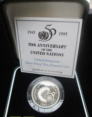 Royal Mint 50th anniversary of UN silver proof £2 coin