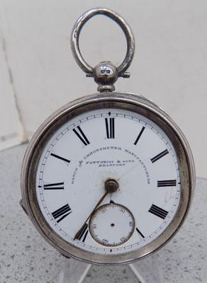 Silver pocket watch, needs glass