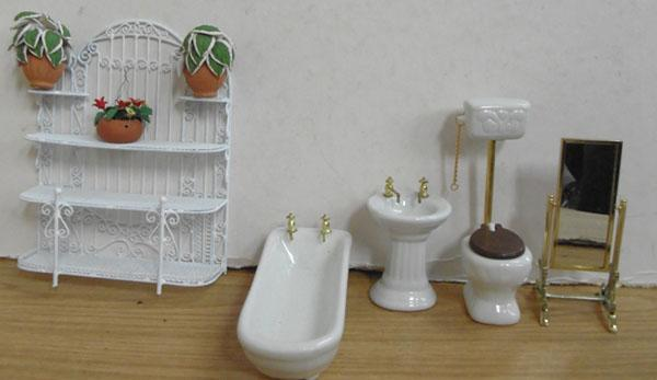 Assorted porcelain & metal doll's house furniture