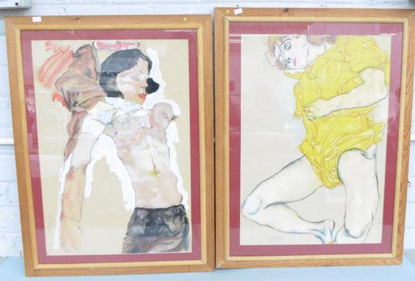 2 x framed paintings of Egon Schieler pics by W Patts