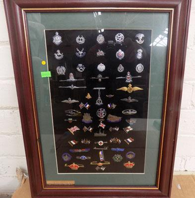 Framed collection of C Horners Sweet Heart tie pins etc.