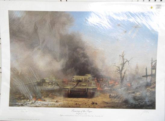 "Ltd Ed signed print ""Taming the Tiger"" tank Normandy 1944"