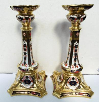 Pair of Royal Crown Derby candlesticks