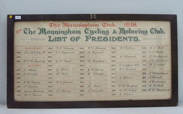 Antique Victorian list of Presidents - Manningham Cycle Club