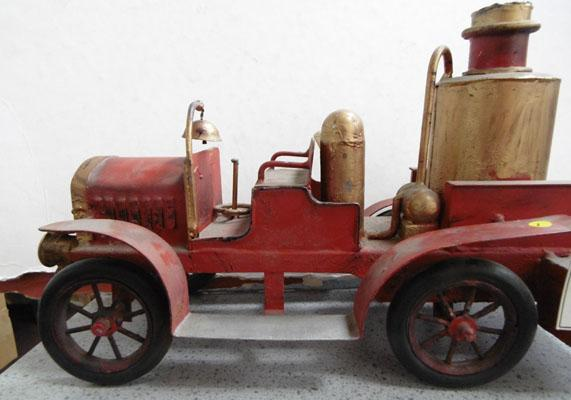 Hand made trench art style tin plate fire engine