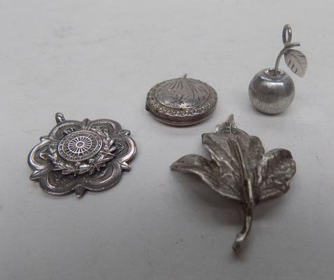Silver fob and 3 silver pendants