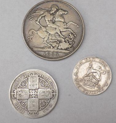1889 crown/florin/shilling coins
