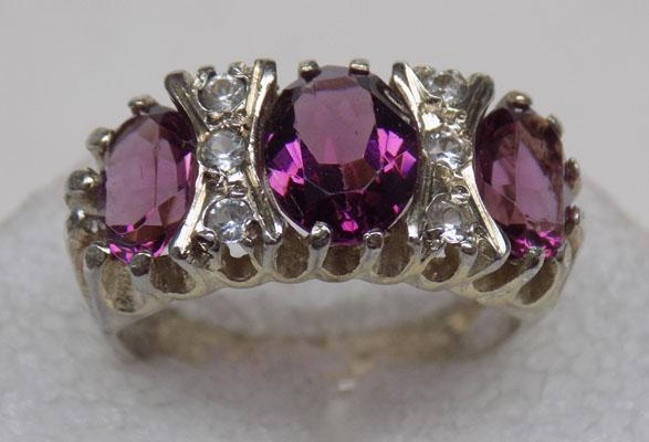 Old silver amethyst trilogy ring
