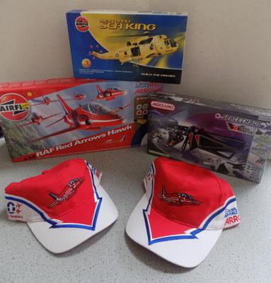 Airfix/Mecanno kits and caps including Red Arrows