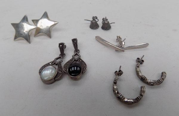 5 Pairs of silver ear rings