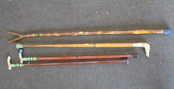 Selection of brass topped walking sticks