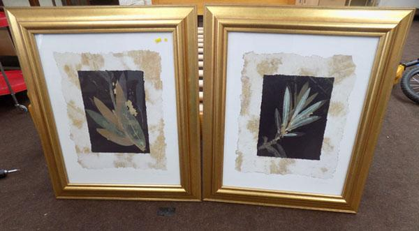 Pair of signed prints-Floral NoirII