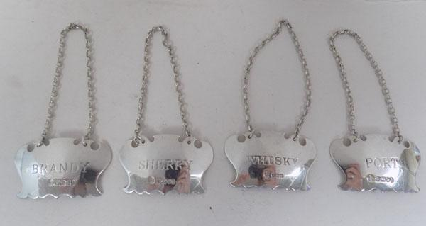 Set of silver decanter labels - brandy/port/sherry/whisky
