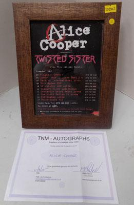 Signed Alice Cooper Flyer with Certificate of Authenticity