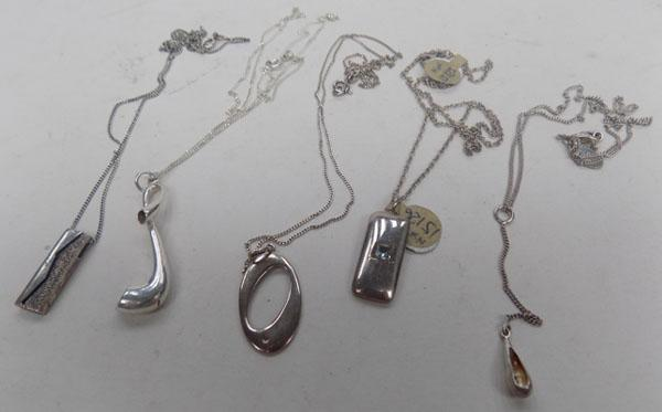 Collection of silver necklaces