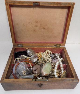 Old box with contents including costume jewellery